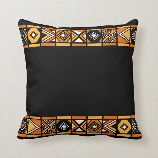Black Native African art pillow