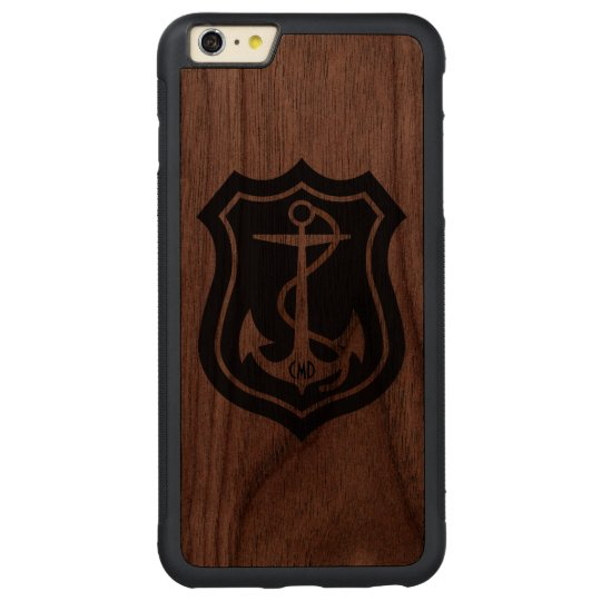 Black Nautical Anchor Monogramed Carved Walnut iPhone 6