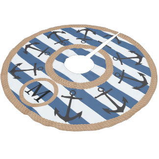 Black Nautical Anchors and Rope Striped Monogram Brushed Polyester Tree Skirt