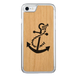 Black Nautical Boat Anchor Carved iPhone 8/7 Case