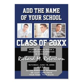 Black, Navy Blue and Gray Team Member's Graduation 13 Cm X 18 Cm Invitation Card