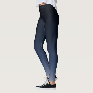 Black Navy Blue Gradient Fade Leggings