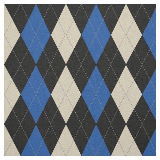 Black   Navy   Cream Argyle Pattern Fabric