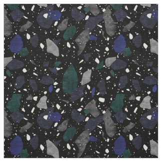 Black Navy Green Terrazzo Textile Pattern Fabric