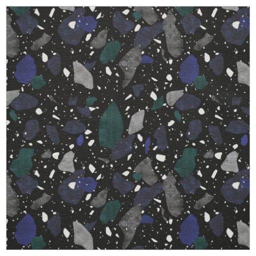 Black Navy Green Terrazzo Textile Pattern Fabric