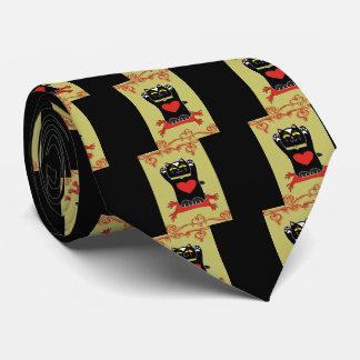 Black Neko with Hearts Tie
