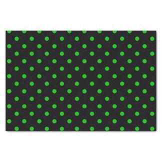 Black & Neon Green Polka Dots Tissue Paper