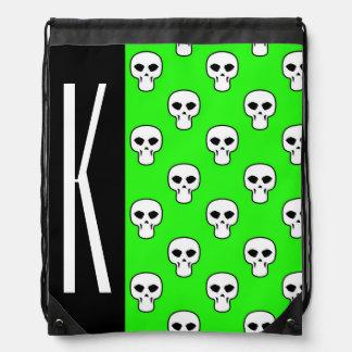 Black & Neon Green Skulls Pattern Drawstring Bag