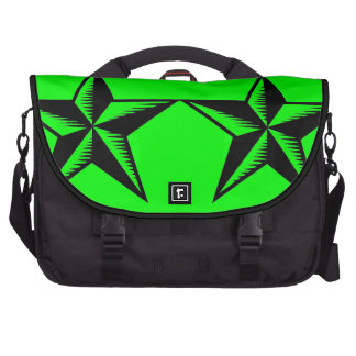 Black neon green tattoo stars commuter laptop bag