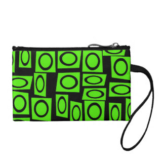 Black Neon Lime Green Fun Circle Square Pattern Coin Purses