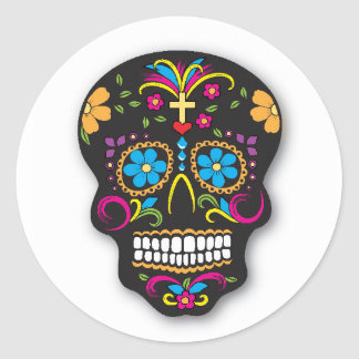 Black Neon Mexican Sugar Skull Day of the Dead Classic Round Sticker