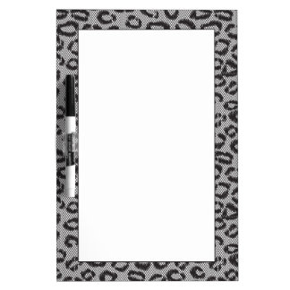 Black net lace with leopard pattern on white dry erase board