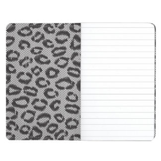 Black net lace with leopard pattern on white journal