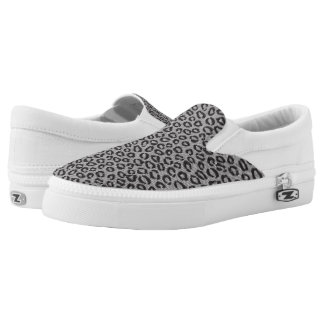 Black net lace with leopard pattern on white Slip-On shoes