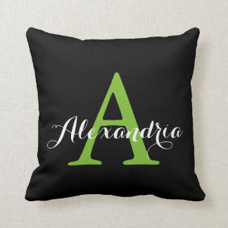 Black Neutral Solid Color Bright Green Monogram Cushion