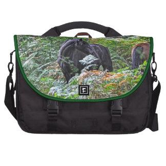 Black New Forest Pony & Forest U.K. Laptop Computer Bag
