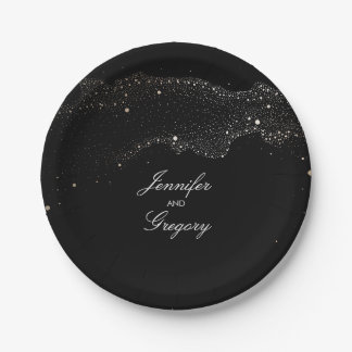Black Night Gold Stars Elegant Romantic Wedding Paper Plate