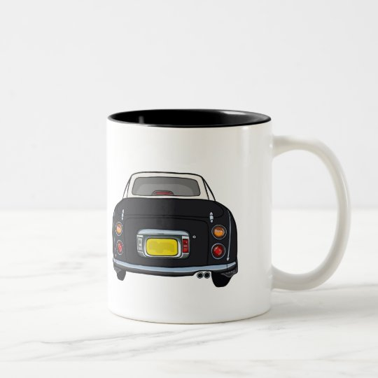 Black Nissan Figaro Car Mug, Custom Name Two-Tone