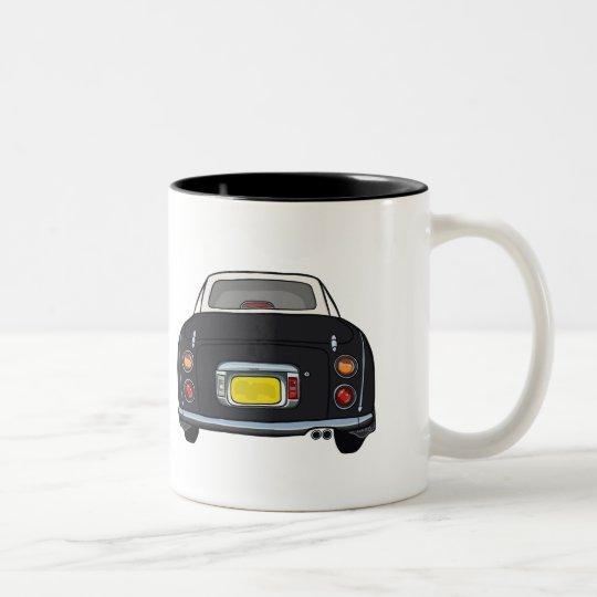 Black Nissan Figaro Car Mug, Custom Name Two-Tone
