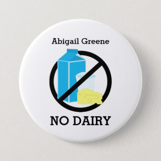 Black No Dairy Allergy Alert Kids Personalized 7.5 Cm Round Badge