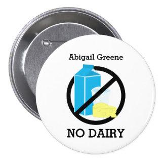 Black No Dairy Allergy Alert Kids Personalized 7.5 Cm Round Badge