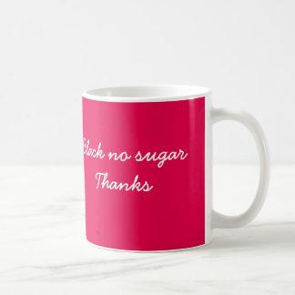 Black no sugar coffee mug