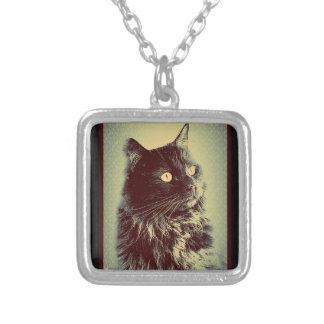 Black Norwegian Forest Cat Square Pendant Necklace