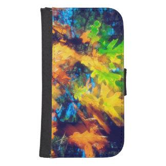 Black Oak Leaves blowing in the Wind Samsung S4 Wallet Case