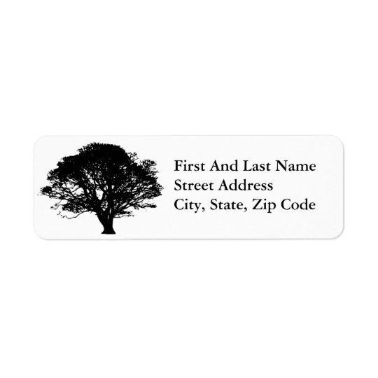 Black Oak Tree Design Return Address Label