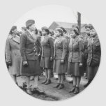 Black Officers Inspecting Troops WWII England Round Sticker