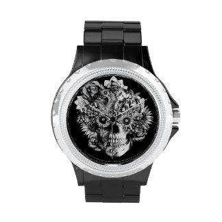 Black Ohm skull with sunflower eyes. Wrist Watch