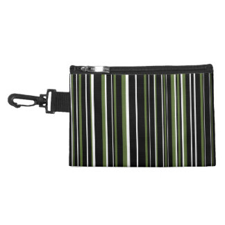 Black, Olive Green, White Barcode Stripe Accessory Bag