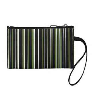 Black, Olive Green, White Barcode Stripe Change Purse