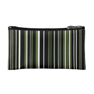 Black, Olive Green, White Barcode Stripe Cosmetic Bag