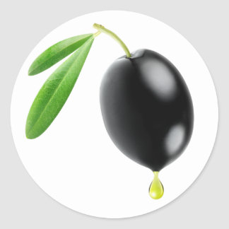 Black olive with drop of oil round sticker