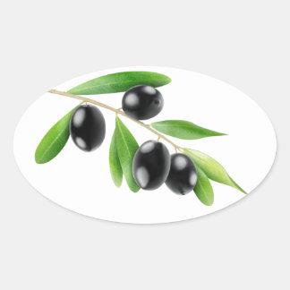 Black olives on a branch oval sticker