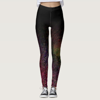 Black Ombre w/ Colorful Circle Grungy Abstract Art Leggings