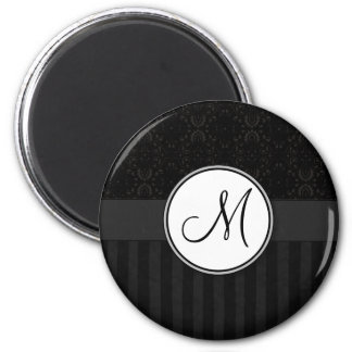 Black on Black Damask and Stripes with Monogram 6 Cm Round Magnet