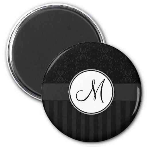 Black on Black Damask and Stripes with Monogram Magnet