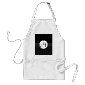 Black on Black Damask and Stripes with Monogram Standard Apron