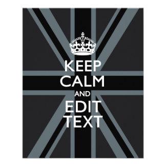Black on Black  Keep Calm and Your Text Union Jack 11.5 Cm X 14 Cm Flyer