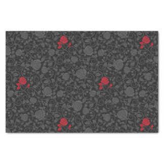 Black on Black Red Rose Modern Damask Floral Tissue Paper