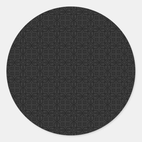 Black on Black Round Sticker