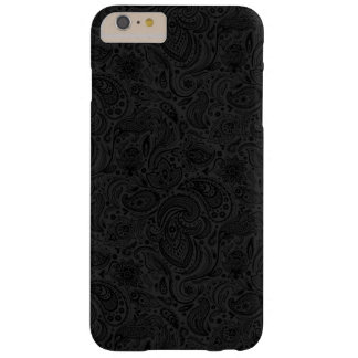 Black On Dark Gray Retro Paisley Damasks Lace 2 Barely There iPhone 6 Plus Case