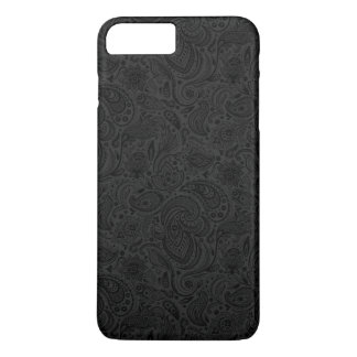 Black On Dark Gray Retro Paisley Damasks Lace 2 iPhone 7 Plus Case