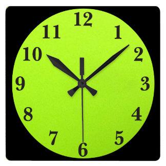 Black On Lime Green Clocks