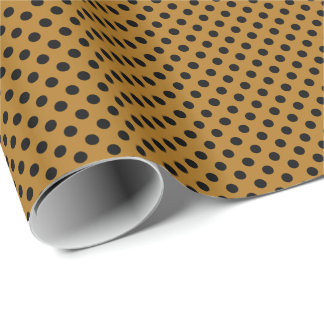 Black on Matte Gold Polka Dot Wrapping Paper