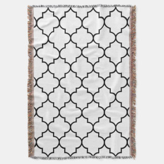 Black on White Background Moroccan Quatrefoil Throw Blanket