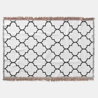 Black on White Background Moroccan Quatrefoil Throw Blanket