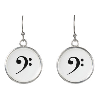 Black on White Bass Clef Music Earrings